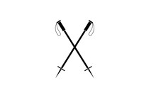 Flat Ski Sticks With Black Han...