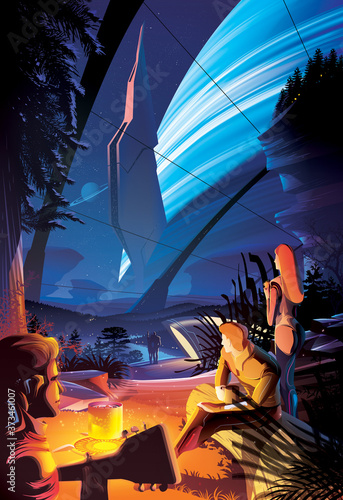 Photo Futuristic campfire on other planet