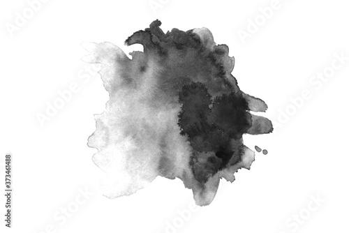 Fototapeta Gray black watercolor hand drawn paper splash texture on white background for design, web