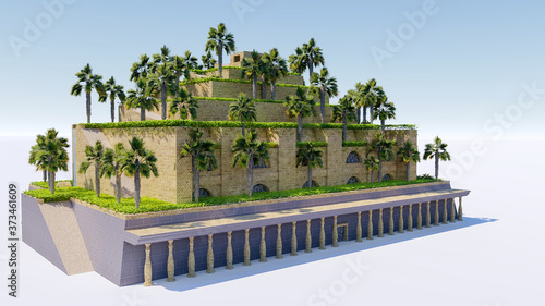 Tela Isolatd 3d rendering of Hanging Garden of Babylon