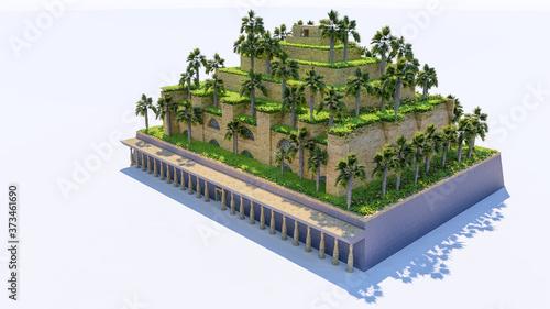 Fotografia Isolatd 3d rendering of Hanging Garden of Babylon