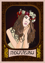 An Illustration Made For A Chocolate Bar Packaging Inspired By Alphonse Mucha During The Art Nouveau Period.