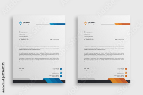 Fototapeta Abstract Corporate Business Style Letterhead Design Vector Template For Your Project. Simple And Clean Print Ready Design, Elegant Flat Design Vector Illustration. obraz