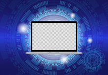 Realistic Laptop Illustration, On Technology Background. TRANSPARENT Hole In The Screen For An Image.