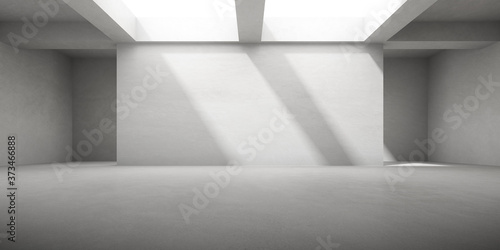 Papel de parede 3D render of empty concrete room with shadow on the wall.