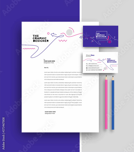 Obraz Business letterhead with business card templates design, Vector illustration. - fototapety do salonu