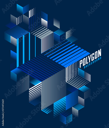 Photographie Linear striped abstract vector dimensional 3D background with isolated retro style graphic element with cubes and triangles