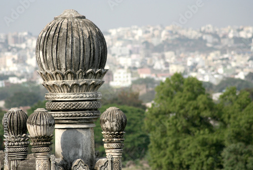 Fotografie, Obraz View of a mosque in Golconda Fort,   fortified citadel and an  capital city of the Qutb Shahi dynasty during  1512–1687,  in Hyderabad, Telangana, India