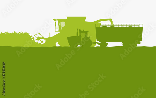 Obraz green color farm vehicles silhouettes side view - fototapety do salonu