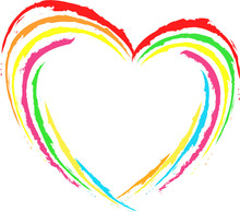 Abstract Hart Multicolored, Rainbow. Template For Valentine's Day