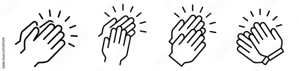 Fototapeta Applause audience icon. Clap, plaudits, standing ovation symbol. flat hands clapping icons. High five signs. Vector human language sign. compliment day. Bravo congratulation, congrats. Cheer hands up