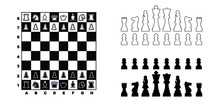 Game, Chessboard Figures Icons...