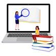Illustration of someone studying online