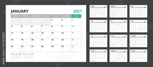 Fotografía 2021 calendar planner set for template corporate design week start on Monday