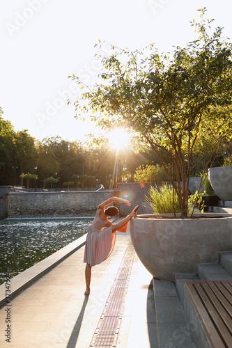 Fotografie, Obraz ballerina at dawn in the park