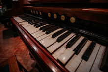 Old Vintage Harmonium Piano Keyboard. Close Up View