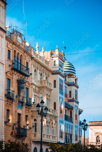 Fotografering Street view of downtown in Seville city, Spain