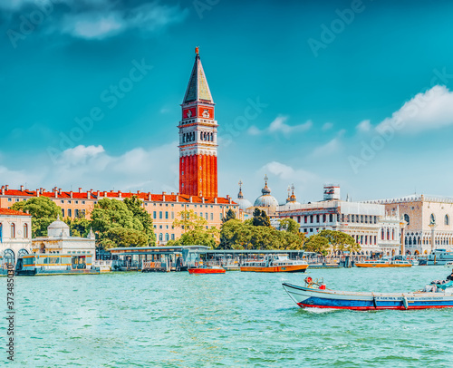 Obraz na plátně VENICE, ITALY - MAY 12, 2017 : Views of the most beautiful canal of Venice - Grand Canal, and Campanile of St