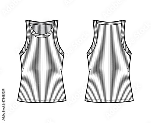 Fotografie, Obraz Ribbed cotton-jersey tank technical fashion illustration with wide scoop neck, relax fit knit, tunic length