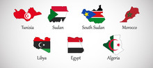 Set Of North Africa Country Maps With Flags Isolated On Gray Background, Vector Illustration