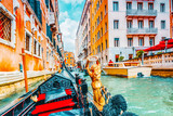 Fototapeta Uliczki - Views of the most beautiful channels of Venice, narrow streets, from the board of the gondola.Italy.