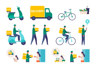 Vector illustration for the online delivery service concept. Truck,  scooter, bicycle and delivery man.