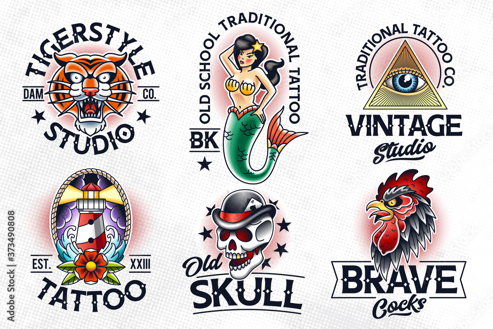Fototapeta Old School Tattoo Vector Emblems