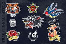 Vector Set Of Traditional Tattoo Arts