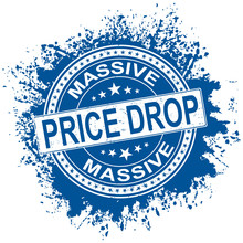 Blue White Rubber Stamp With Price Drop Concept