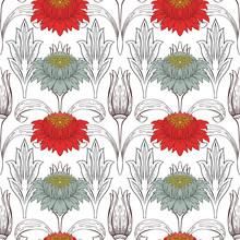 Flowers In Art Nouveau Style