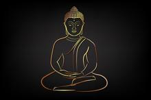 Golden Buddha With Golden Border Element.