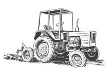 Farm Tractor Hand Drawn Vector Illustration Sketch