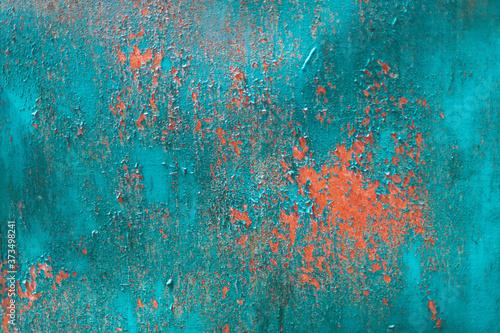 Obraz na plátně Blue iron metallic grunge rusty background.