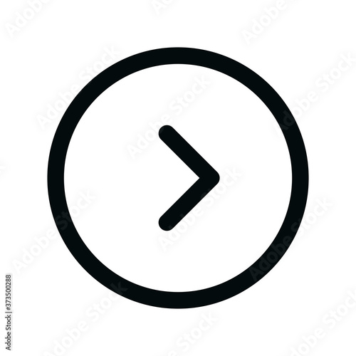 Right circle isolated icon, right arrow round outline vector icon with editable Fototapeta