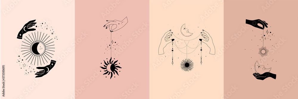 Set of alchemy esoteric mystical magic celestial talisman with woman hands, sun, moon, stars sacred geometry isolated. Spiritual occultism object. Vector illustrations in black outline style - obrazy, fototapety, plakaty