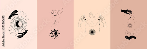 Fototapeta Set of alchemy esoteric mystical magic celestial talisman with woman hands, sun, moon, stars sacred geometry isolated. Spiritual occultism object. Vector illustrations in black outline style obraz