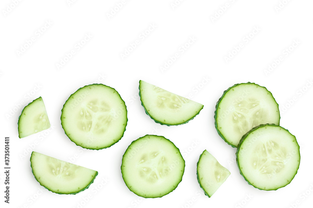 Fototapeta Sliced cucumber isolated on white background with clipping path and full depth of field, Top view with copy space for your text. Flat lay