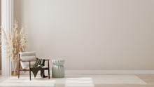 Minimalist Modern Living Room Interior Background, Living Room Mock Up In Scandinavian Style, Empty Wall Mockup, 3d Rendering