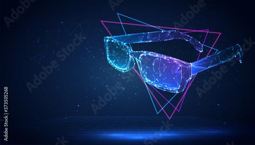 Obraz na plátně vector 3d glasses from triangular polygons
