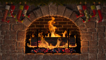 Yule Log In Fireplace Decorated With Christmas Stockings. 3D Illustration.