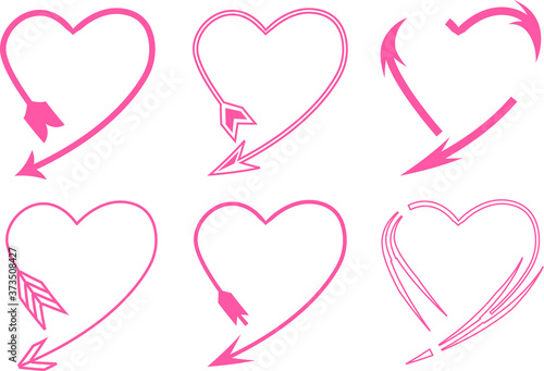 Collection of creative pink heart arrow illustrations Fototapet