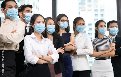 Fototapety, obrazy: group of diversity business people wearing protective medical masks for protection from virus in office