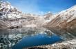 canvas print picture - Dudh pokhari Gokyo lake, Phari Lapche peak, Renjo pass