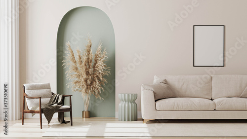 Fotografie, Obraz living room interior mock up, modern furniture and decorative green arch with tr