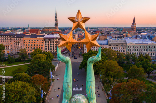 Fotografie, Obraz Amazing Aerial View of the Statue of Liberty Milda in Riga, Latv