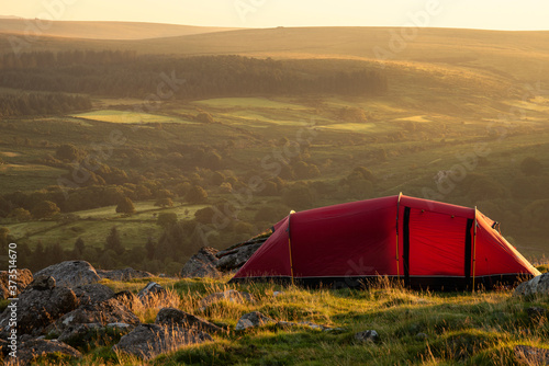 Stunning image of wild camping in English countryside during stunning Summer sun Canvas