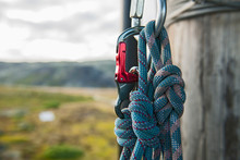 Close Up Of Carabiner And Rope...