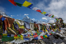 Prayer Flags In Front Of Ama D...