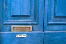 No Junk Mail Sign Under The Door Mail Slot