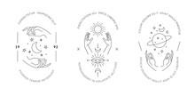 Boho Hand Drawn Magic Logos. M...